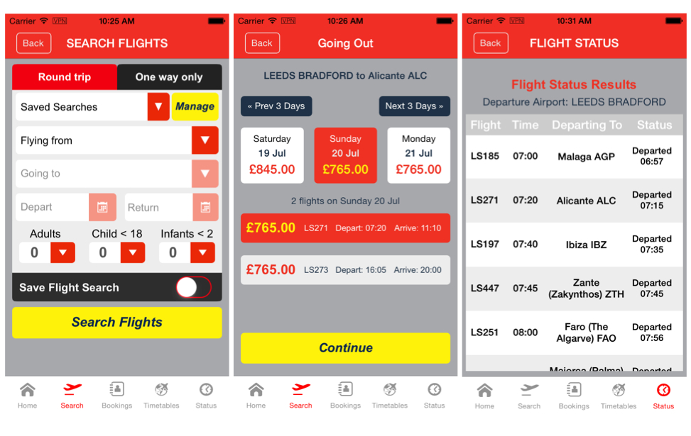 Jet2 mobile screenshots